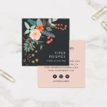 "Boho Floral Square Business Card<br><div class=""desc"">Lighthearted floral business cards in a unique square format feature a boho style bouquet in shades of coral and green, accented with a feather and greenery. Add your name and business name or title/occupation in the lower right corner, against a rich off-black background. Cards reverse to dark lettering on a...</div>"