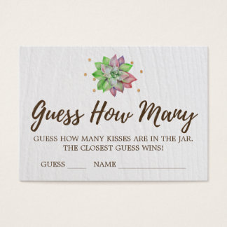 Boho Floral Succulent Guess How Many Kisses Cards