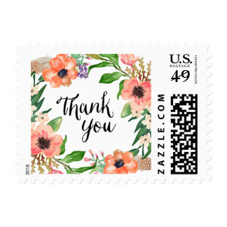 Boho Floral Thank You Postage Stamp