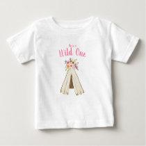Boho Floral Tribal Teepee Wild One 1st Birthday Baby T-Shirt