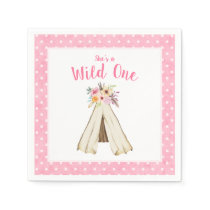 Boho Floral Tribal Teepee Wild One 1st Birthday Paper Napkin