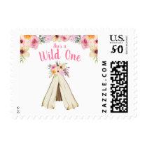 Boho Floral Tribal Teepee Wild One 1st Birthday Postage