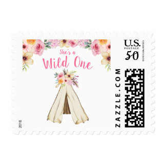 Boho Floral Tribal Teepee Wild One 1st Birthday Postage