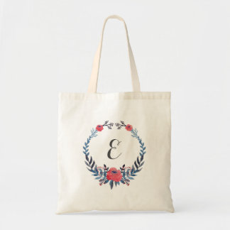 Boho Floral Watercolor Red Roses | Monogram Tote Bag