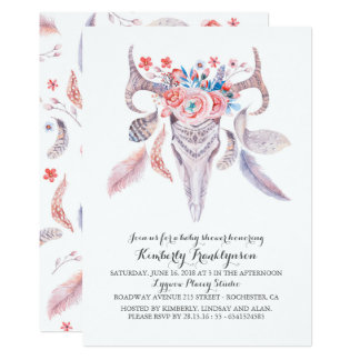 Boho Floral Watercolor Skull Baby Shower Card