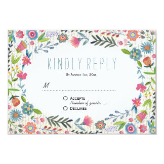 Boho Floral Watercolor Wedding | RSVP Reply Card