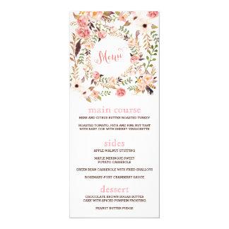Boho Floral Wedding Menu Card