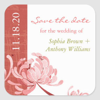 Boho Floral Wedding Save the Date Square Sticker