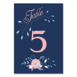Boho floral wedding table number cards Blush blue Table Cards