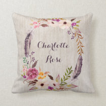 Boho Floral Wild One Baby Girl Nursery Decor Throw Pillow
