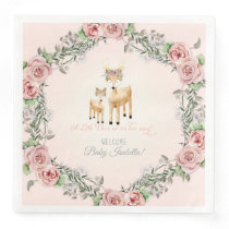 Boho Floral Wreath Deer Antler Baby Girl Shower Paper Dinner Napkin