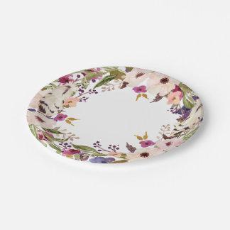 Boho Floral Wreath Paper Plate