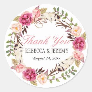 Boho Floral Wreath Thank You Wedding Favor Classic Round Sticker