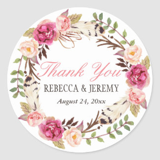 Boho Floral Wreath Thank You Wedding Favor Classic Round Sticker