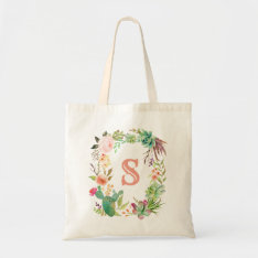 Boho Floral Wreath Tote at Zazzle