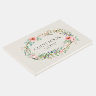 Boho Floral Wreath with Your Custom Text Guest Book