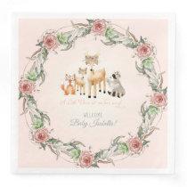 Boho Floral Wreath Woodland Animals Baby Shower Paper Dinner Napkin