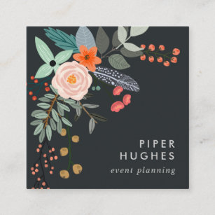 Pink business cards zazzle boho floral square business card reheart Images