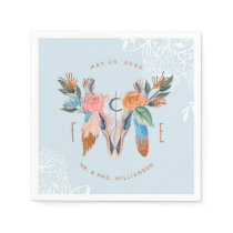 Boho Florals & Feather Blue Wedding Paper Napkin