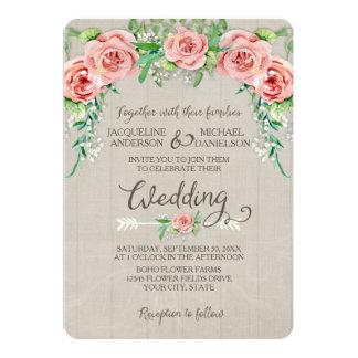 BOHO Flower Crown Baby's Breath Wood Fence Wedding Card