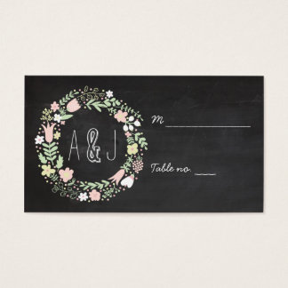 Boho Flower Wreath Rustic Chalkboard Wedding Business Card
