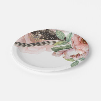 Boho Flowers and Feathers Paper Plate