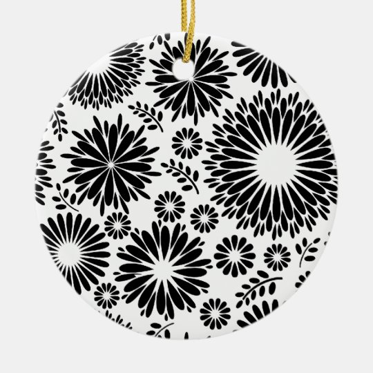 Boho flowers Black and White vector floral pattern Ceramic Ornament