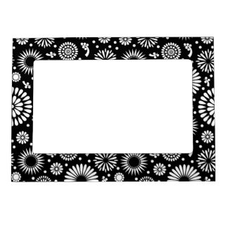 Boho flowers Black and White vector floral pattern Magnetic Frame