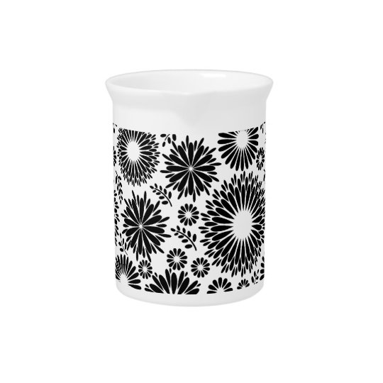 Boho flowers Black and White vector floral pattern Pitcher