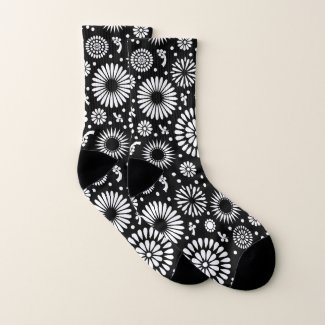 Boho flowers Black and White vector floral pattern Socks