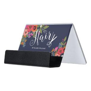 Boho Flowers Scissor Navy Blue Hair Salon Desk Business Card Holder