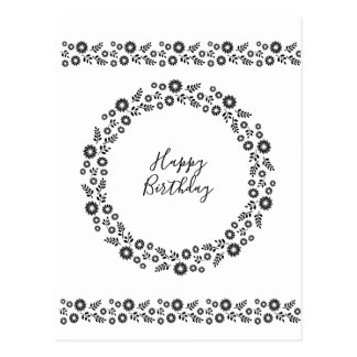 Boho flowers Wreath Black and White greetings Postcard
