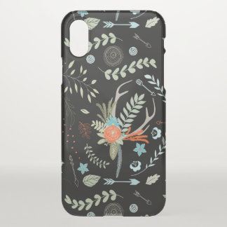 Boho Forest Arrows and Deer Antler Floral Pattern iPhone X Case