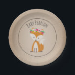 "Boho Fox Cardstock Inspired Custom Baby Shower Paper Plate<br><div class=""desc"">Baby shower paper plates featuring an illustration of a baby fox wearing a flower crown.  Background is card stock inspired. Personalize the name.</div>"
