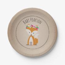 Boho Fox Cardstock Inspired Custom Baby Shower Paper Plate