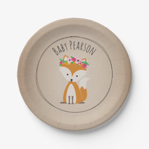 Boho Fox Cardstock Inspired Custom Baby Shower Paper Plate  sc 1 st  Zazzle : fox paper plates - pezcame.com