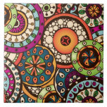 """Boho Funky Trendy Retro Abstract Pattern Ceramic Tile<br><div class=""""desc"""">This is a beautiful custom gift featuring a pattern that is so colorful and fun. It makes the perfect addition to any holiday or special occasion.</div>"""