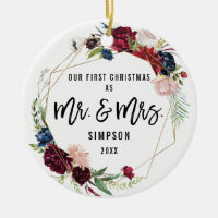Boho Geometric First Christmas As Mr and Mrs Photo Ceramic Ornament