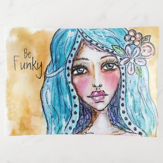 Boho Girl Flower Blue Hair Polka Dot Trinket Trays