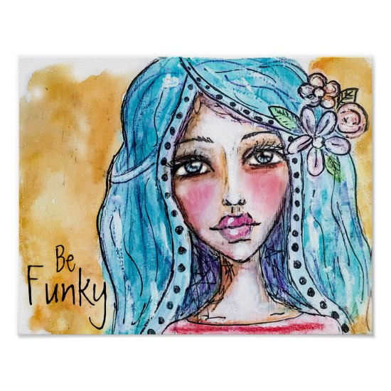 Boho Girl Watercolor Illustration Colorful Flowers Poster