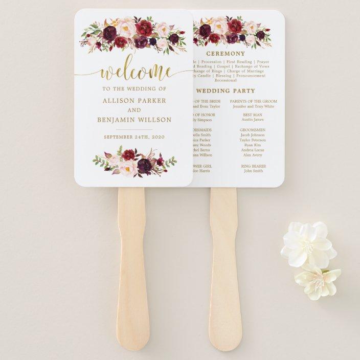 Bohemian Chic Wedding Program Fans Petal Fan Programs Floral Wedding Fan Fan Programs Bohemian Chic Floral
