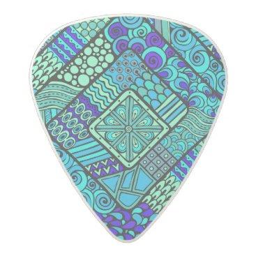 Aztec Themed Boho Green blue abstract tribal pattern Acetal Guitar Pick