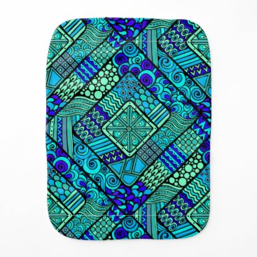 Aztec Themed Boho Green blue abstract tribal pattern Baby Burp Cloth