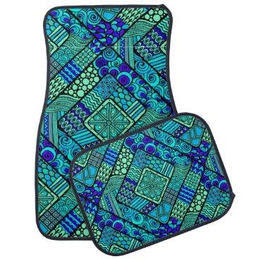 Aztec Themed Boho Green blue abstract tribal pattern Car Mat