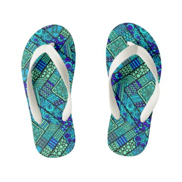 Aztec Themed Boho Green blue abstract tribal pattern Kid's Flip Flops