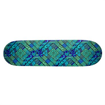 Aztec Themed Boho Green blue abstract tribal pattern Skateboard Deck
