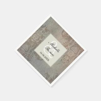 Boho Grunge Damask Wedding Paper Napkin