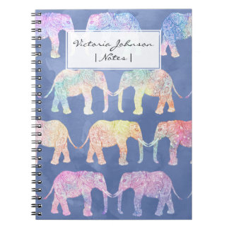 Boho hand drawn paisley tribal elephants pattern notebook