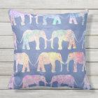 Boho hand drawn paisley tribal elephants pattern outdoor pillow