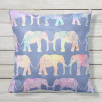 Boho hand drawn paisley tribal elephants pattern outdoor pillow